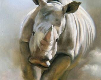 Rhino 17 x 11 print (image 11.75 x 10.5) personally signed by artist RUSTY RUST / R-9-P