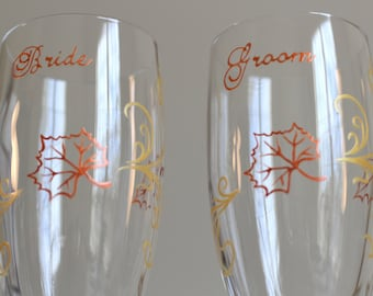 In Stock Autumn Fall Champagne Glasses, Toasting Flutes Wedding Engagement Leaves Rustic Woodland Copper Gold Personalized Custom Painted