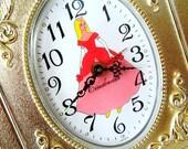 Vintage Cinderella Wind Up Alarm Clock Disney Princess Decor Brass Picture Frame Clock Works 1960s Disneyana Cinderella Decor