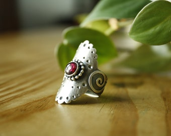 Silver Saddle Ring with Garnet—US 7.25—Ready-to-Ship