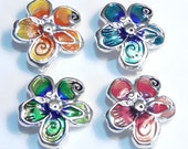 Four 2 Hole Slider Beads, 2 Hole Spacer Beads Silver Plated Bright Multi Color Enamel Spring Flowers Botanical Garden Floral Beads