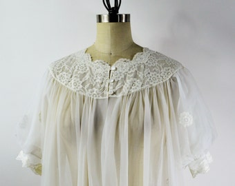 Vintage Dressing Gown Size Medium 1960s White Nylon Robe by Shadowline with Floral Applique Puff Sleeves and Lace Trim