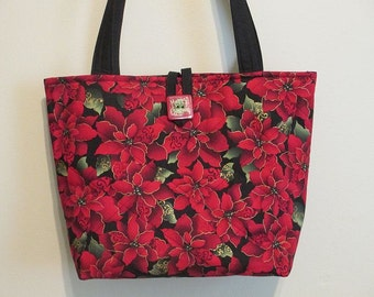 On SALE, now 30.00 was 35.00 Quilted Christmas Purse/Tote, Poinsettia Purse/Tote