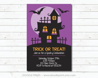 Printable Halloween Party Invitation, Haunted House Design, Halloween Card Invitation, Trick or Treat Party, Costume Party, 4x6 OR 5x7