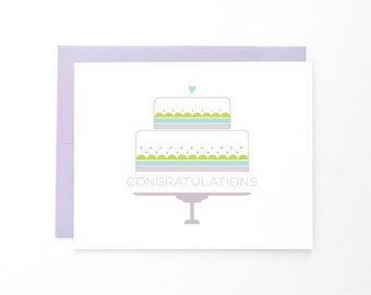 Congratulations Cake Wedding Card | Celebration + Cheers | Tiered Wedding Cake | Anniversary + Marriage