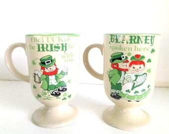 Vintage Irish Leprechaun Coffee Pedestal Mugs Made in Japan St. Paddy's Day