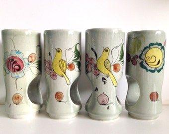 Vintage Noe Suro Hand-Painted Candle Holders/Planters Mexico