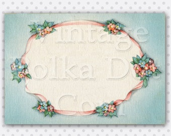 Vintage Clip Art Flower Border Ribbons and Flowers Graphic Clipart Beautiful Pastel Graphic Digital Printable Photo Frame Craft Supply