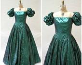 Metallic 80s Prom Dress Size Large XL Green Metallic // Vintage Green Metallic Ball Evening Gown By Mike Benet Scarlett O'hara