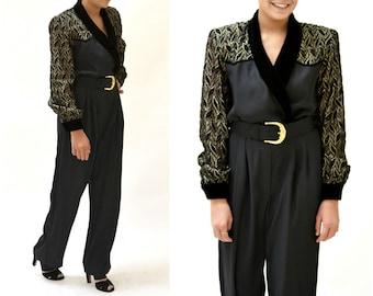 Vintage Black Jumpsuit Size Medium Gold Metallic 80s Powersuit // 80s Black and Gold Metallic Jumpsuit Size Medium