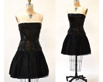 90s Vintage Black Sequin Party Dress size Medium By Lillie Rubin // Vintage Black Strapless Sequin Dress Size Medium 80s 90s Prom Party