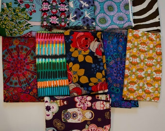 10 Yard Fabric Lot Alexander Henry Quilting Cotton Everyday Eden Kaffe Fasset Jennifer Paganelli Robert Kaufman Russian Doll LOT 6 Destash