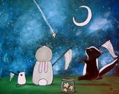 Kids Wall Art Print 8 x 10 Nursery Decor Shooting Stars Woodland Animals Bunny Rabbit Mouse Skunk Cute Artwork for Baby Room Starry Sky