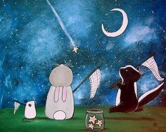 Kids Wall Art Print 8x10 Nursery Decor Shooting Stars Woodland Bunny Rabbit Mouse Skunk Cute Artwork Baby Room Starry Sky