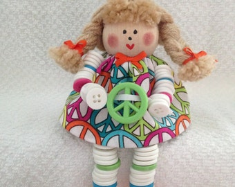 PEACE Button Doll