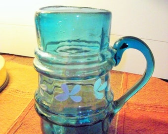 Antique Hand Blown Blue Glass Cup