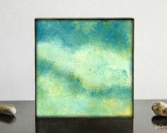 Landscape Painting: 4x4 Original Mixed Media Art, Minimalist Art, Original Art, Impressionist Art, green, turquoise, teal, Cloud painting