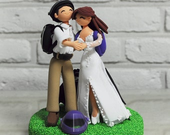 Custom Wedding Cake Topper - Sky diving Jumping - gift decoration