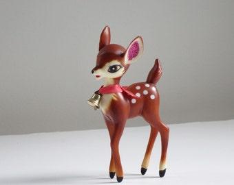 Vintage Reindeer Figurine, Kitsch Plastic Deer Fawn, 50s Hong Kong Plastic Reindeer, Kitschmas Reindeer, Christmas Plastic Deer