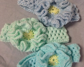 Pastel baby croched headband with large flower