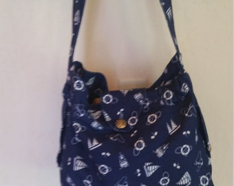Navy Blue Nautical Themed Hobo Bag