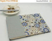 MOVING SALE Classic Guest Book, 6.5 x 9.5, Unlined, Blue and Gray Floral with Gold
