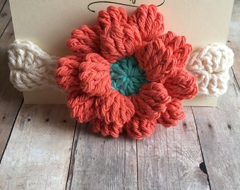 Tangerine and Seabreeze blue Baby Headband, Baby Flower Headband, dahlia headband baby cotton, Headband for baby, flower Headband,
