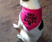 Personalized Big Brother or Big Sister with Heart Embroidered Dog Bandana--can also do for little brothers or little sisters