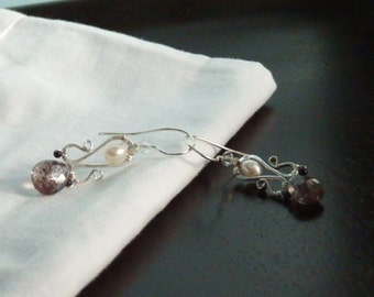 Earrings in Black and White, Pearl, Moss Amethyst, Tourmaline and Swarovski Crystal Drops in Forged Sterling Silver by JeanineDesigns