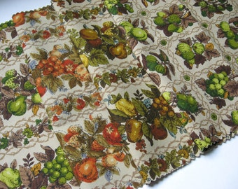Four cotton twill fruity fabric samples vintage complimentary neutral palette green brown pear grape strawberry vines