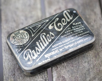 Antique French Tin Box Pastilles Tell Rustic black collectible french pharmacy tin box french home decor