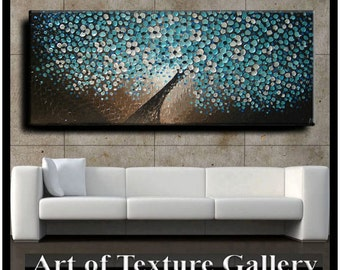 72 x 30 Oil Painting Original Abstract Texture Custom Blue Aqua Teal Brown White Floral Tree Sculpture Knife Painting by Je Hlobik