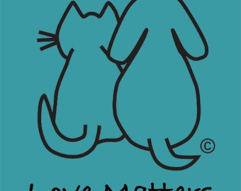 Love Matters Tee shirt by Peace Kitty in Seafoam