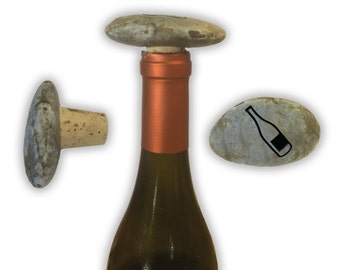 Engraved Symbol Wine Stopper on Natural Stone  - 6980 Wine Bottle