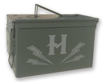 Personalized Engraved Ammo can - 14138 Monogram Lightning Bolts Personalized-Ammo Can