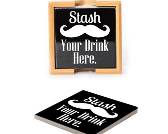Ceramic Coasters with wooden holder Set of 4 - 2041 Stash Your Drink Here