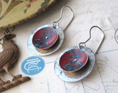 Tin Earrings, Red and Blue Tin Disc Earrings, Super Light Weight, Tin Anniversary, Sterling Ear Wires