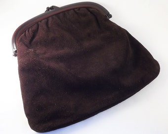 Mod Suede Bag, Large Brown Clutch, Brown Leather Suede Clutch Purse, Vintage Suede Leather Bag, 1960's Vintage Bag, Made in Italy