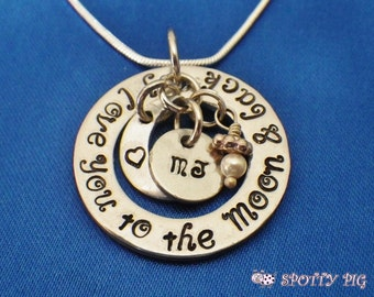 Personalised Gift Initials I Love You To The Moon & Back Necklace, Hand Stamped Gift, Present