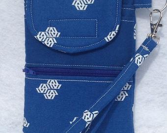 cellphone wallet/wristlet/clutch in Fragmental blue print, padded wristlet, smartphone case, iphone clutch, handmade handbag, slimline