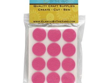 """240 - 1.5"""" Med Pink Adhesive Felt Circles"""