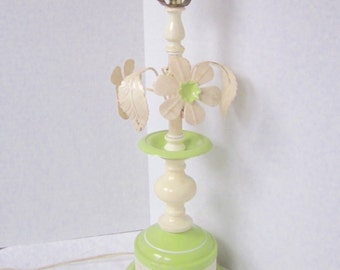Toleware Table Lamp Metal Flower Tole Light Green Cream Chippy 1960s Decor
