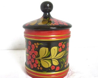 Russian Box Folk Art Red Black Gold Wooden Box Khokhloma Hand Painted USSR
