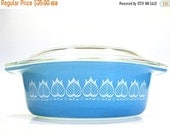 ON SALE RESERVED for Phoebe 1960s Vintage Rare Pyrex Blue Tulip Promotional Casserole Dish