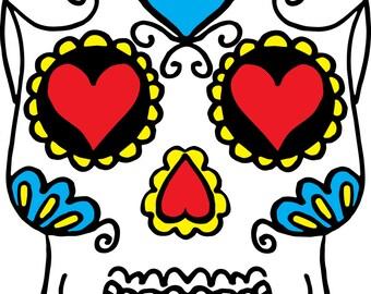 Giant dia de los muertos skull decal ( day of the dead)