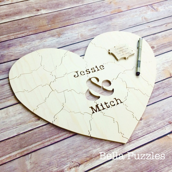 60 pc Wedding Guest Book Puzzle, guestbook alternative, wood HEART puzzle guest book Bella Puzzles™ rustic wedding, minimalist modern