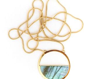 Moon Gazer long necklace- Labradorite long necklace, labradorite jewelry, modern necklace, long necklace