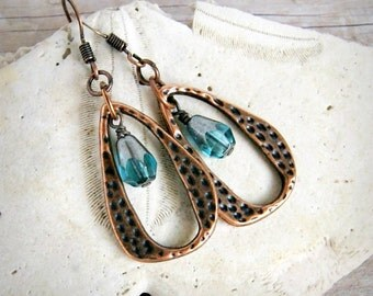 blue drop earrings, beaded earrings, dangle earrings, gift for her