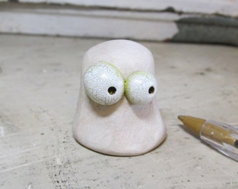 Halloween FOLK art MINI Ghost with lime tint eyes by Janell Berryman Pumpkinseeds