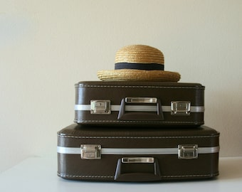 Vintage Vinyl Luggage Set, Chocolate, Storage,Vintage Decor